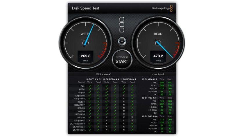 Im Praxistest mit dem kostenlos erhältlichen Transcend Disk Speed Test weicht die SSD von Transcend beim Schreiben deutlich nach unten ab.