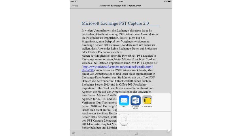 Übergabe: Aus der OneDrive for Business-App können Sie Dokumente auch mit den einzelnen Office-Apps auf dem iPad öffnen lassen.