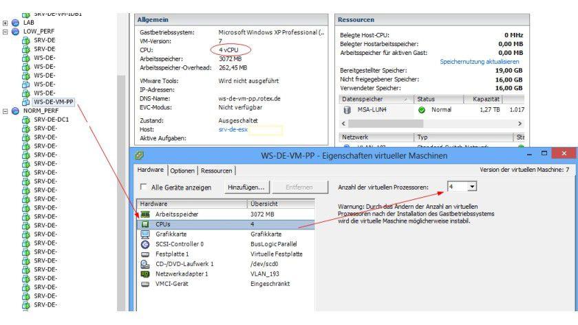 Basisarbeit: Das instellen von virtuellen CPUs in vSphere ist eine wichtige Verwaltungsaufgabe in VMware vSphere.