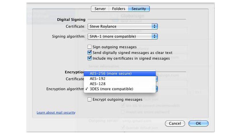 Einstellungssache: Hier definiert der Anwender die digitale Signatur und den Verschlüsselungsalgorithmus.