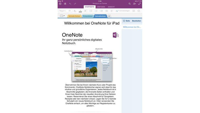 OneNote für alle: Die Notizbücher stehen auf verschiedenen Endgeräten wie dem iPad, aber auch über OneNote Online über eine WebApp im Browser zur Verfügung.