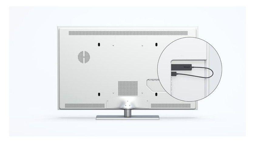 Der Adapter kommt in einen HDMI-Eingang am Fernseher. Strom erhält er aus einer USB-Buchse.