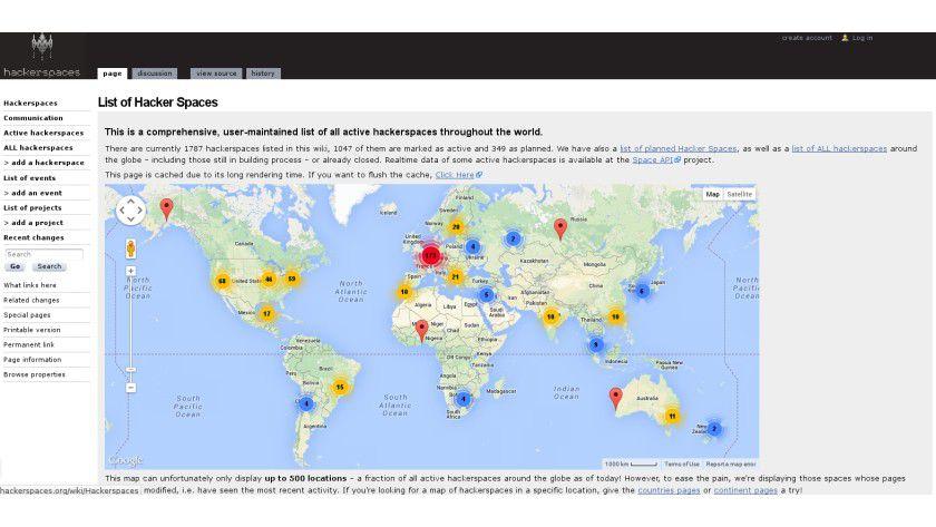 Eine Liste weltweit aktiver Hackspaces findet sich auf hackspace.org.