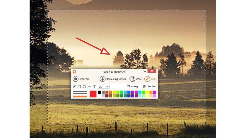 Frei Hand: Um Objekte beim Screencast besser kenntlich zu machen, stehen Text- und Grafikwerkzeuge zur Verfügung.