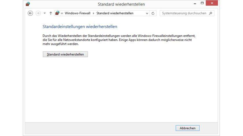 Reset: Wenn Sie die Firewall auf die Standardeinstellungen zurücksetzen, gehen alle vorgenommenen Anpassungen verloren.