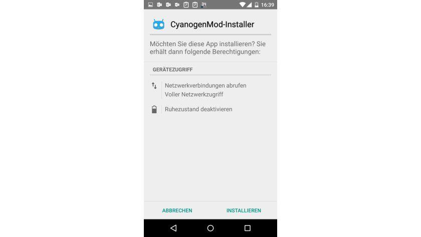 Erlaubnis: Der CyanogenMod-Installer benötigt Sicherheitseinstellungen auf dem Android-Gerät.