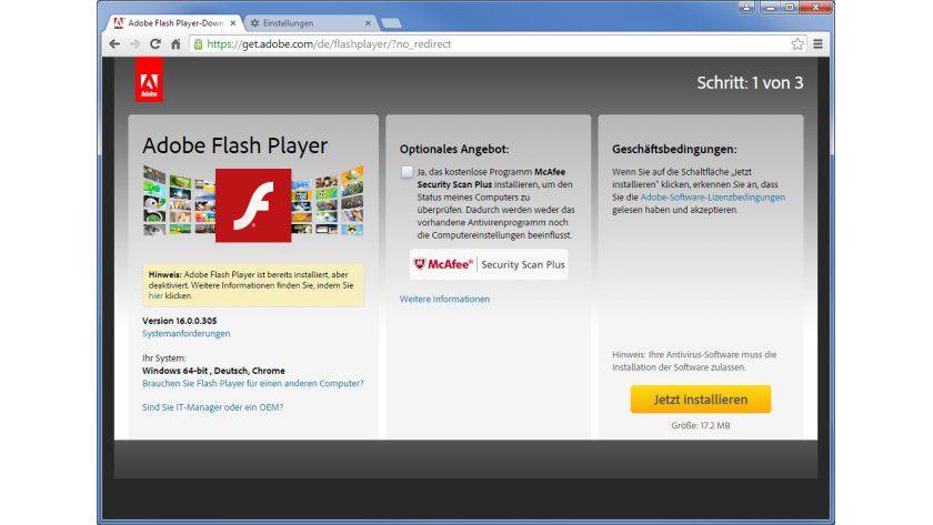 Internet Explorer, Firefox und Chrome: Adobe Flash Player sicher auf