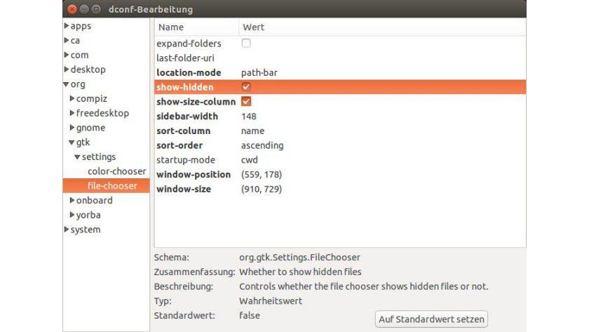 """Dconf-Editor: Über den Schlüssel """"show-hidden"""" können Sie die Anzeige von versteckten Dateien und Ordnern regeln."""