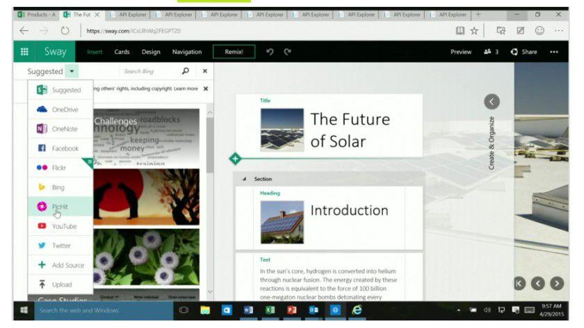 Per PicHit.me-Plug-in lassen sich einfach Bilder in Microsofts Storytelling-Tool Sway einfügen. Apps und Office sollen dank neuer API enger verzahnt werden.