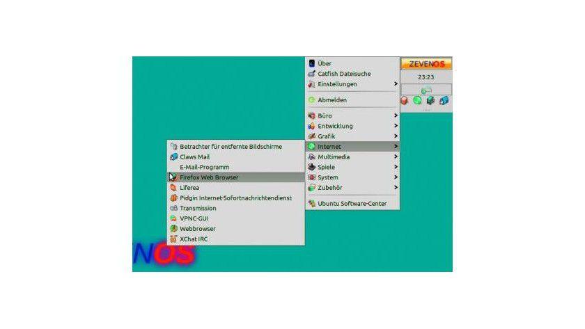 Das Menü in Zeven-OS: Es handelt sich um ein umgestaltetes XFCE-Panel. Wer möchte, kann die Leiste auch einfach in die Horizontale verschieben und mit weiteren XFCE-Applets versehen.