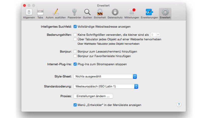 Vollständig: Durch Markieren der entsprechenden Option zeigt Safari auch die Unterseiten der Webseiten an.