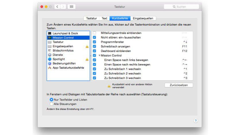 Mac OS X Schreibtische: Bei aktivierten Checkboxen lassen sich die Desktops schnell per Hotkey erreichen.