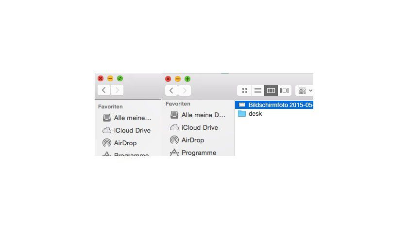 Maximierung: Links sehen Sie den grünen Knopf für den Vollbildmodus der Anwendungen. Wird die alt-Taste gedrückt, so ändert der gründe Knopf seine Funktion für normales Maximieren.