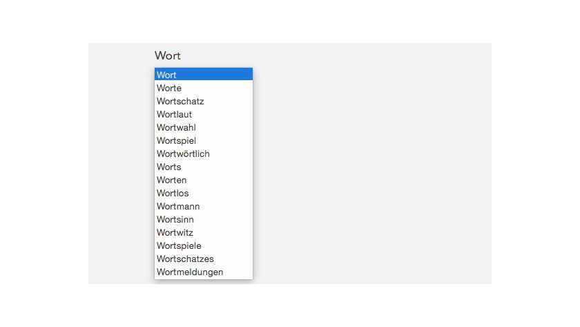 """Wortvorschläge: Wird die Tastenkombination """"alt+esc"""" getipp, so zeigt Mac OS X eine Liste an."""