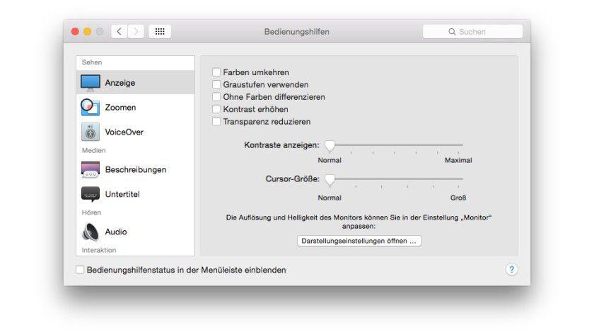 Effekte: Sowohl die Transparenz als auch der Kontrast lassen sich bei Mac OS X einstellen.