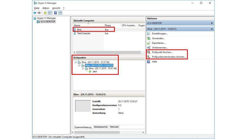 Snapshots zusammenführen: Über die GUI lassen sich Prüfpunkte bequem übernehmen. Dazu löscht man sie einfach.