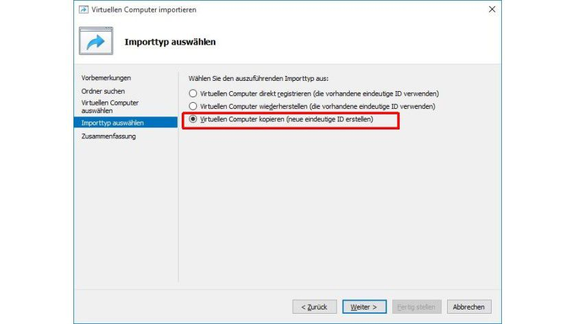 Vorsicht beim Importtyp: Um eine VM mehrmals wieder zu importieren, müssen Sie die Standardoption ändern.