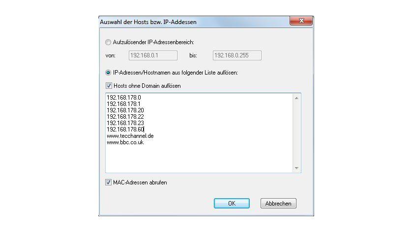Eigene Liste: Anstatt einen Adressbereich zu scannen, können Sie auch einzelne IPs und Host-Namen angeben.