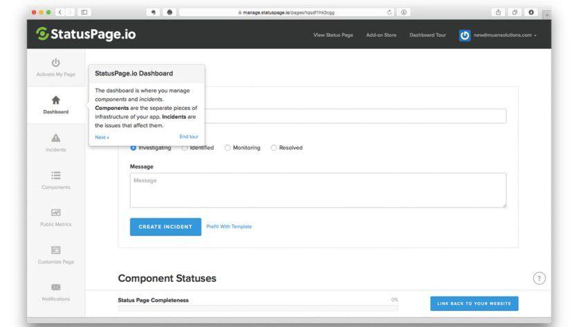 Den aktuellen Status jeder Komponente kann man manuell eintragen oder, wesentlich effizienter, mithilfe zahlreicher Integrationsmöglichkeiten mit populären Monitoring-Diensten wie Pingdom und PagerDuty automatisiert aktualisieren.