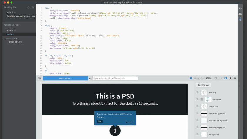 Gut zu wissen: Mit Brackets wird Extract mitgeliefert, ein Programm aus der Adobe Creative Cloud. Es verspricht, CSS-Code automatisch aus PSD-Dateien extrahieren und weitergeben zu können.