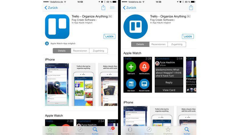 """Apps für die Watch sind auch im normalen App Store des iPhones (links) gekennzeichnet. In der iPhone-App """"Apple Watch"""" mit dem integrierten App Store (rechts) finden sich ausschließlich Apps mit Watch-Unterstützung."""