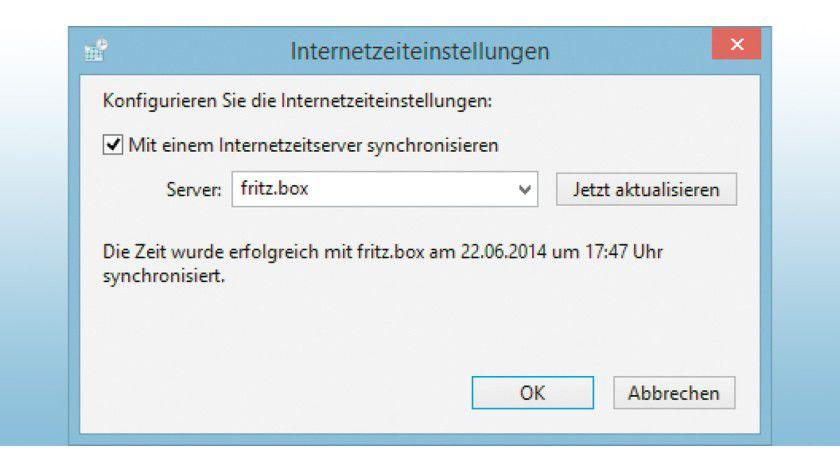 """Tragen Sie unter Windows einfach """"fritz.box"""" als Internetzeitserver ein. So wird die Zeit in Ihrem Netz nur noch von einer zentralen Stelle abgefragt."""