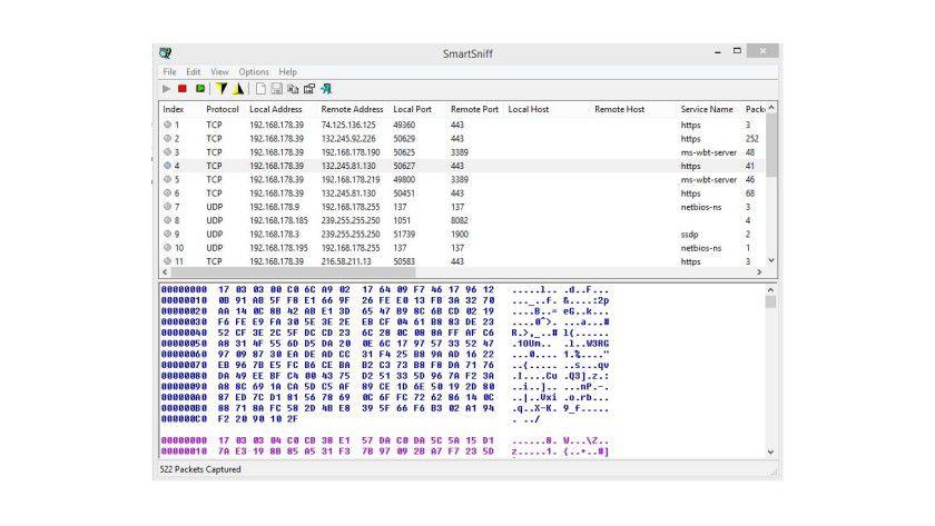 Nach wenigen Sekunden zeigt SmartSniff die Daten des Scanvorgangs an.
