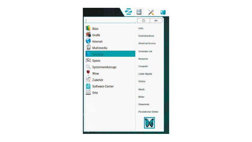 Zorin-Menü: Der Nutzer kann für das zentrale Dock diverse Menüs wählen. Das Zorin-Menü orientiert sich an Windows 7.