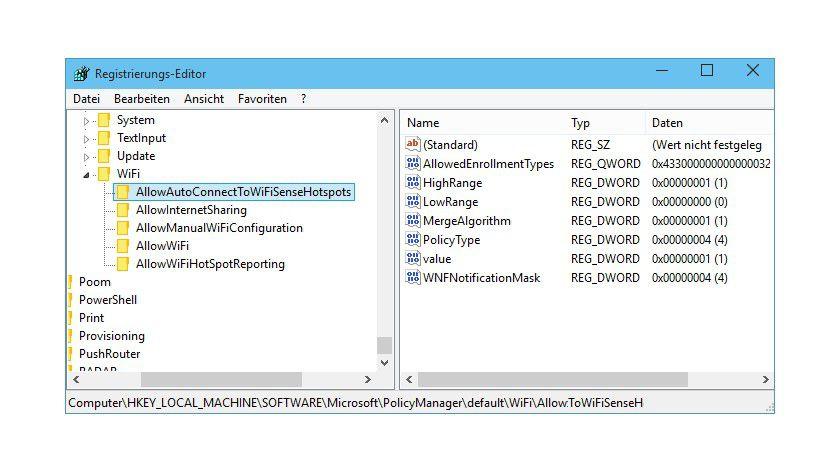 Wi-Fi Sense: In der Registry von Windows 10 Technical Preview finden sich Hinweise auf die Implementierung von Wi-Fi Sense.