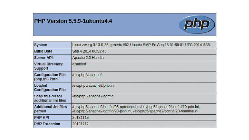 HTML-Ausgabe von phpinfo(): Der Server liefert auf einer übersichtlichen Seite alle Einstellungen und Komponenten der PHP-Installation aus.