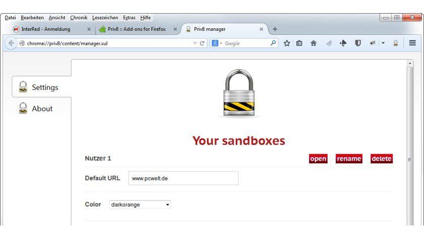 Das Plug-in Priv8 bietet eine Sandbox für einzelne Firefox-Tabs. So lassen sich auch in Firefox Lesezeichen und andere Daten von mehreren Nutzern getrennt verwalten.