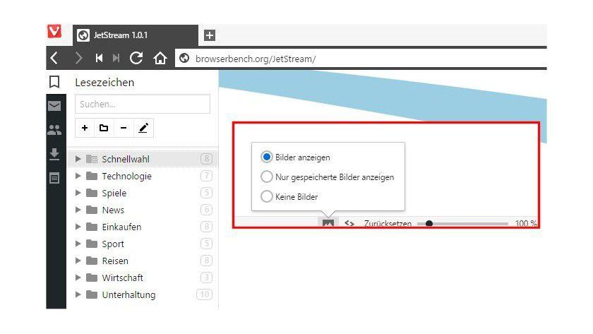 Gut versteckt ganz rechts unten im Browser-Fenster: Vivaldi bietet die Möglichkeit, das Laden von Bildern zu unterbinden, sinnvoll bei schlechter mobiler Internet-Verbindung.