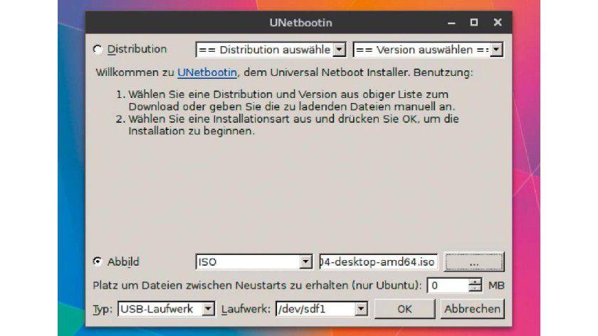 Über Jahre war Unetbootin erste Wahl: Das Programm für Linux, Windows und Mac-OS versucht mit einer eigenen Bootumgebung, ISO-Dateien ohne hybriden Bootsektor auf USB-Sticks zu entpacken.
