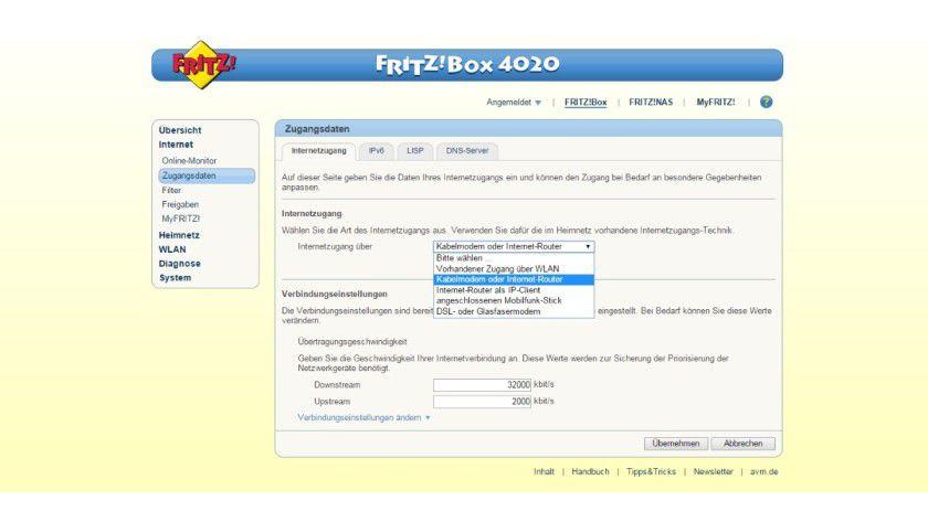 Die Fritzbox 4020 hat kein Modem: Sie braucht Unterstützung, wenn sie online gehen soll