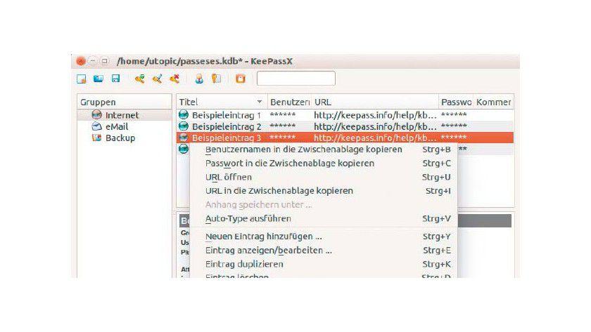 Die Passwortverwaltung ist mit dem Datenbankformat des ursprünglichen Keepass 1.x kompatibel. Es steht in allen populären Linux-Distributionen zur Installation bereit.