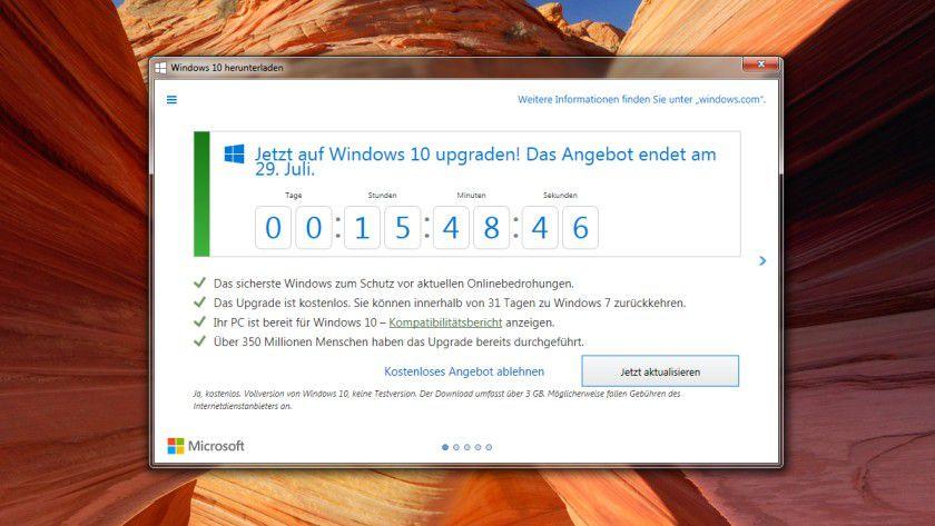 In wenigen Stunden läuft das kostenlose Windows 10 Upgrade von Microsoft ab. Wer auf Windows 10 wechseln will, sollte jetzt handeln.
