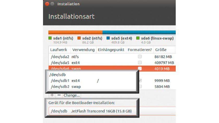 Bootloader Grub auf den USB-Stick schreiben: Beachten Sie bei mobilen Linux- Installationen, dass auch die Bootumgebung auf dem richtigen Datenträger landet.
