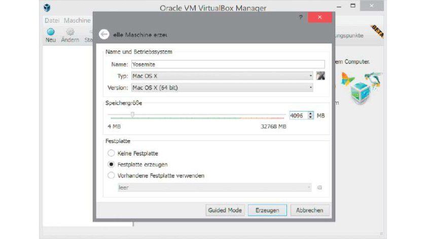 Virtualbox unterstützt auch die Einrichtung von Apple-Desktop-Betriebssystemen in einer virtuellen Maschine.