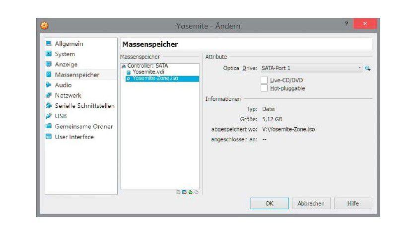In unserem Beispiel installieren wir Mac OS X von einem ISO-Image, das in Virtualbox als Laufwerk eingebunden ist.