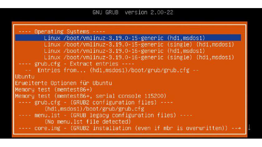 Super Grub 2 Disk sucht nach Installationen auf der Festplatte und zeigt sie in einem Menü an. Der Linux-Start funktioniert auch bei defekter Grub-Umgebung.
