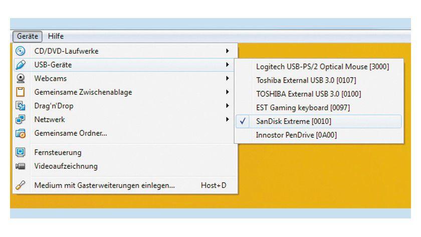 """USB-Geräte: Unter dem Menüpunkt """"Geräte -> USB-Geräte"""" sehen Sie am Häkchen, welche Geräte gerade in die virtuelle Maschine eingebunden sind."""