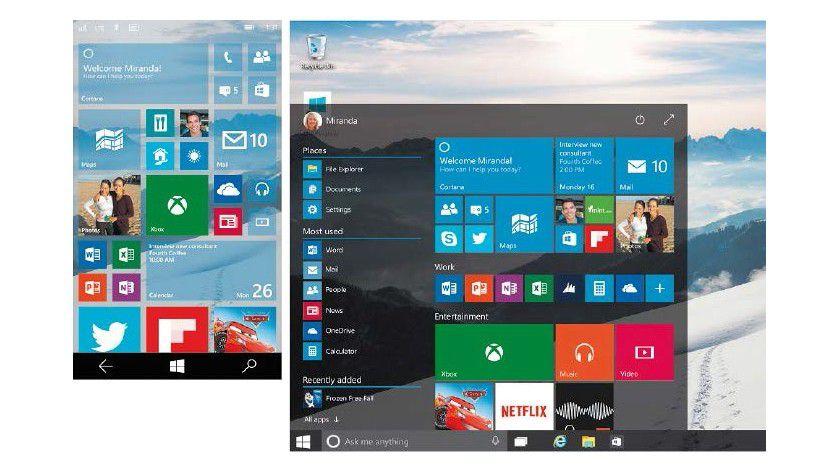 Windows 10 sieht auf Smartphones und PCs ähnlich aus. Die Bedienung mit Maus und Tastatur fällt am PC durch das neue Startmenü leichter als bei Windows 8.1.