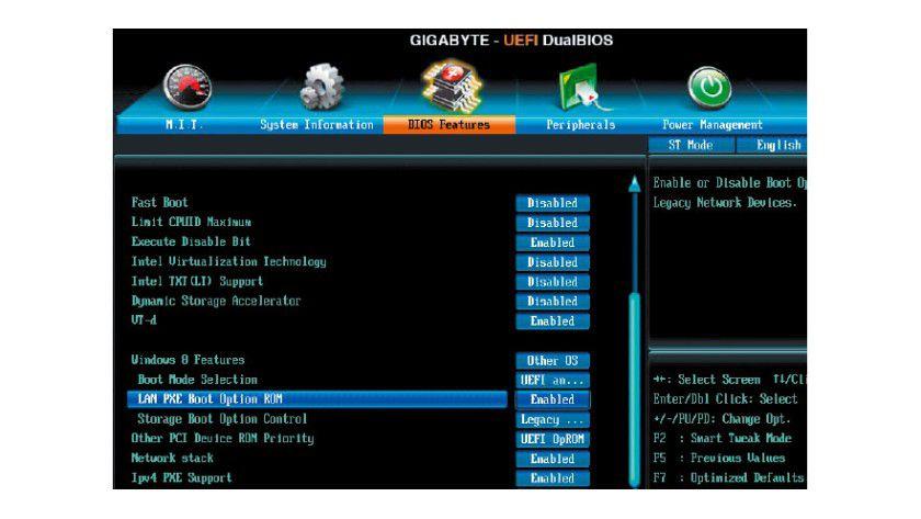 """Aktivieren Sie im Bios eine Option wie """"Lan PXE Boot Option ROM"""", und konfigurieren Sie den Netzwerkadapter als erstes Bootgerät."""