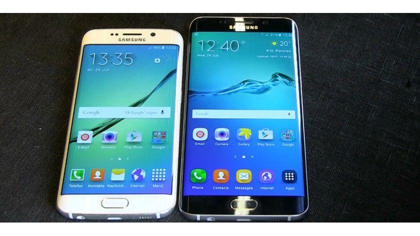 Größenvergleich: Links ist das normale Galaxy S6 edge mit 5,1-Zoll-Bildschirm, rechts sehen Sie das neue Galaxy S6 edge+ mit 5,7 Zoll.