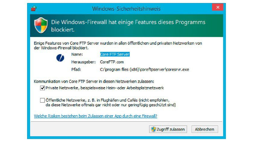 Darf das Programm seine Dienste anbieten? Ab Windows 7 meldet sich die Firewall von Windows automatisch, wenn eine Anwendung erstmals einen Port öffnen will. Wenn Sie zustimmen, merkt sich die Firewall die Erlaubnis dauerhaft.