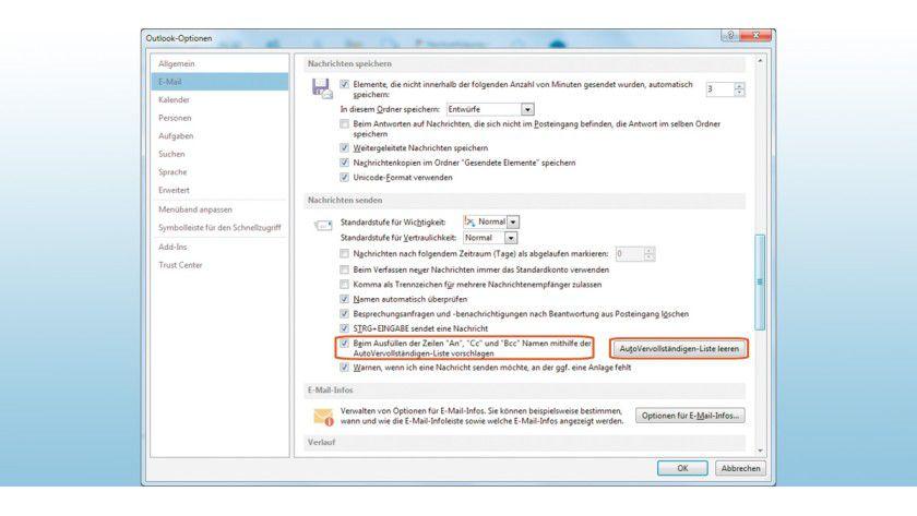 Egal, ob Sie die AutoVervollständigen-Funktion aktiviert haben oder nicht: Outlook speichert alle einmal eingegebenen Mail-Adressen. Manchmal ist es daher sinnvoll, den Cache komplett zu löschen.