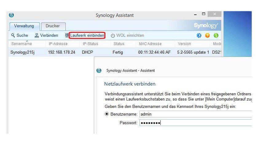 Alternativ zur Windows-Funktion bietet Synology Assistant die Möglichkeit, das NAS über einen Laufwerksbuchstaben ebenso wie lokale Festplatten anzusprechen.