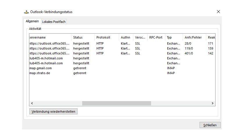 Outlook 2016 und Exchange 2013 SP/2016 sowie Office 365 kommunizieren mit dem MAPI-HTTPS-Protkoll.