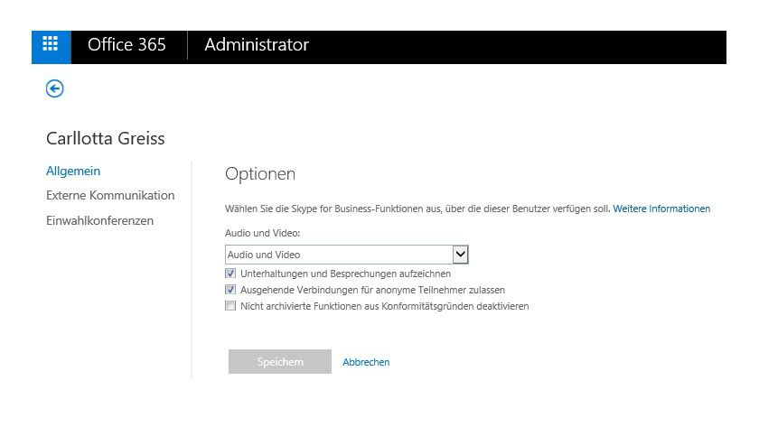 Im Skype for Business Admin Center passen Sie die generellen Einstellungen von Skype an, aber auch die Einstellungen einzelner Benutzer.