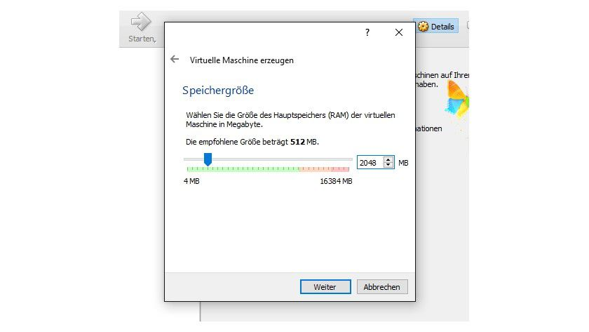 Während der Erstellung des virtuellen Computers legen Sie auch den Arbeitsspeicher des virtuellen Computers fest.
